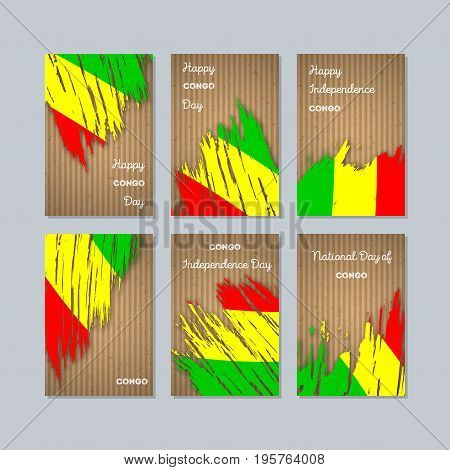 Congo Patriotic Cards For National Day. Expressive Brush Stroke In National Flag Colors On Kraft Pap