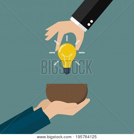 Hand giving idea to beggar hand. Vector illustration