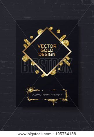 Trendy modern mockup design with golden sparks on black brick wall. Can used like business cards invitations gift cards flyers and brochures. Vector stock