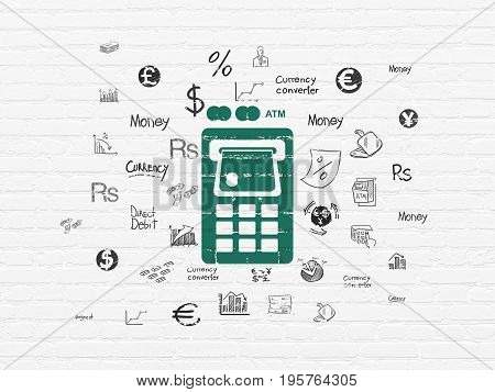 Banking concept: Painted green ATM Machine icon on White Brick wall background with  Hand Drawn Finance Icons