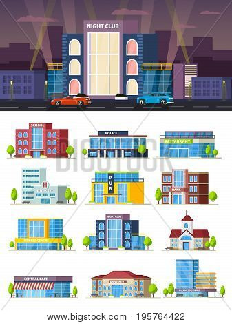 Municipal buildings composition with restaurant cafe university bank hospital school church police night club pub business and fitness centres vector illustration