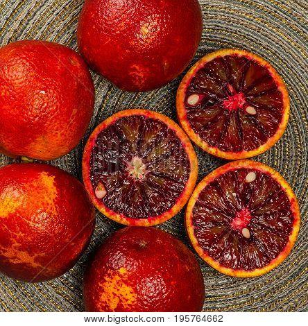 Sicilian orange ruby red oranges three halves