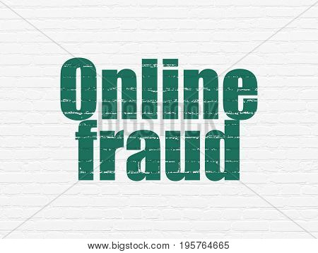 Protection concept: Painted green text Online Fraud on White Brick wall background