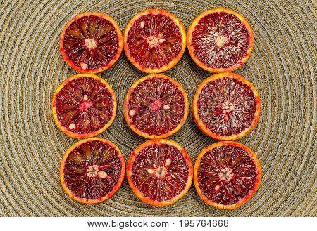 Sicilian orange ruby red oranges nine halves