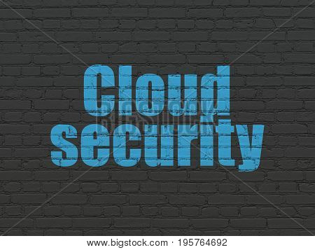 Privacy concept: Painted blue text Cloud Security on Black Brick wall background