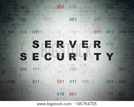 Security concept: Painted black text Server Security on Digital Data Paper background with Binary Code