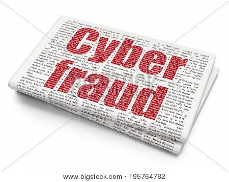 Safety concept: Pixelated red text Cyber Fraud on Newspaper background, 3D rendering