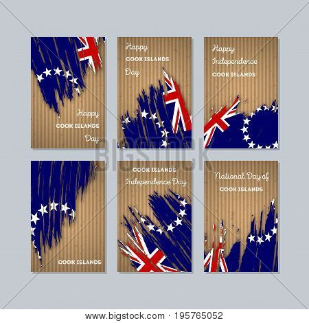 Cook Islands Patriotic Cards For National Day. Expressive Brush Stroke In National Flag Colors On Kr