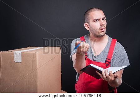 Mover Guy Holding Agenda Asking Information To Write