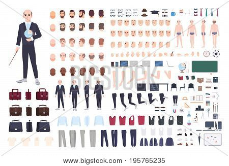 Teacher character constructor. Male lecturer creation set. Different postures, hairstyle, face, legs, hands, accessories, clothes collection. Vector cartoon illustration Man front side back view