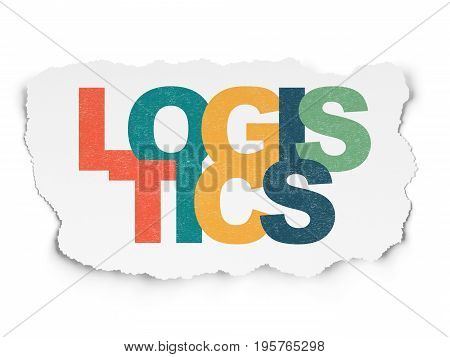 Business concept: Painted multicolor text Logistics on Torn Paper background