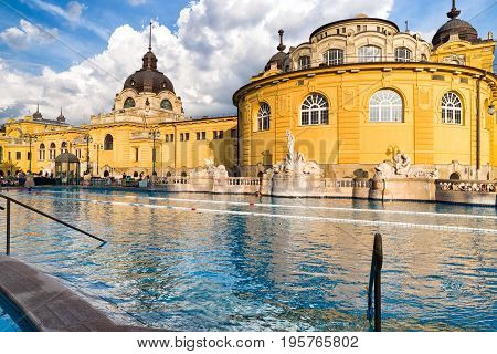 BUDAPEST HUNGARY - MAY 6: Realaxation in Szechenyi thermal bath on May 6 2017 in Budapest