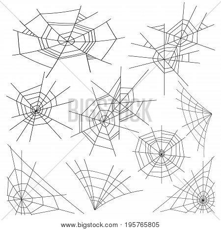 Halloween Spider Web Set Vector. Isolated. For Halloween Design
