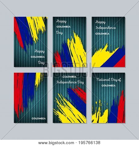 Colombia Patriotic Cards For National Day. Expressive Brush Stroke In National Flag Colors On Dark S