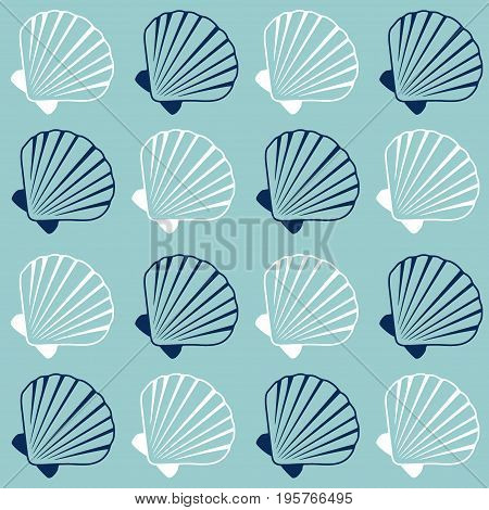 Seashell pattern, marine repeating vector background. Bivalve mollusk cockleshell, oceanic sea shell seamless textile pattern. Scallop fabric, beach symbol. Minimalist seashell graphic design.