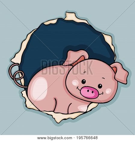 Scalable vectorial image representing a cute pig peeking through the fence.