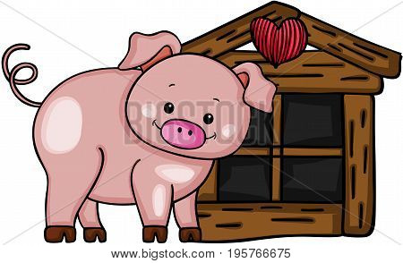 Scalable vectorial image representing a cute pig with little wood house, isolated on white.