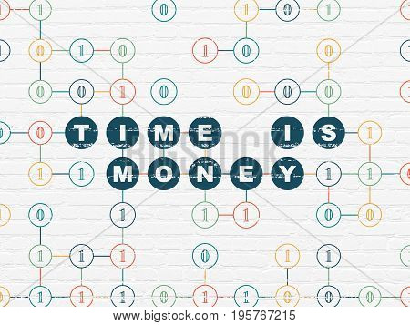 Finance concept: Painted blue text Time is Money on White Brick wall background with Binary Code