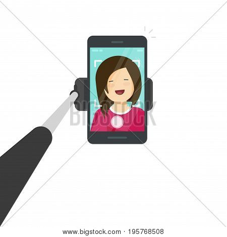 Selfie stick with smartphone vector illustration, flat cartoon mobile phone with selfie photo of happy girl or woman isolated on white background