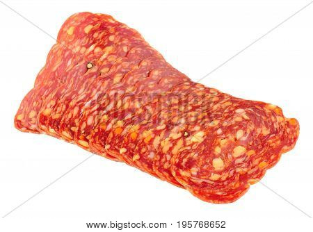 Italian Spianata Piccante salami meat slices isolated on a white background