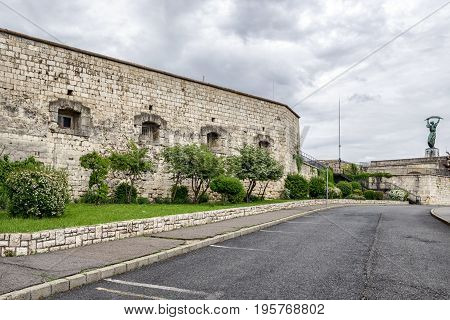 Fortification Citadella on top of the Gellert hill and Liberty statue in Budapest Hungary