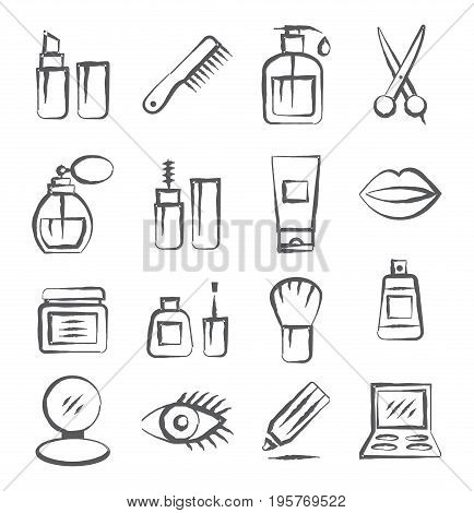 Gray Cosmetics doodle icons on white background