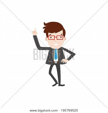 Flat style modern business employees with red glaesses in dark grey blazer clothes. Vector icon set. Happy Men lifestyle icon.