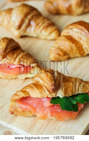 Sandwiches with butter croissants smoked salmon and parsley. Breakfast meal. Starter and appetizer