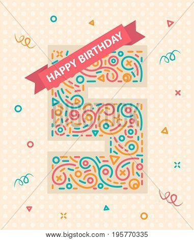 Happy birthday number 5 Colorful greeting card for five year