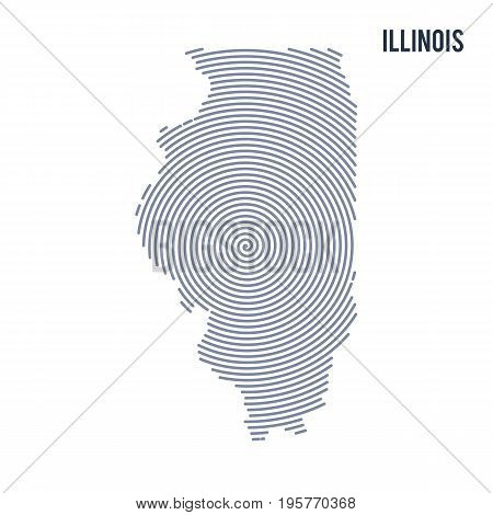 Vector Abstract Hatched Map Of State Of Illinois With Spiral Lines Isolated On A White Background.