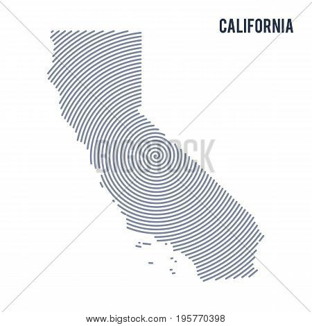 Vector Abstract Hatched Map Of State Of California With Spiral Lines Isolated On A White Background.