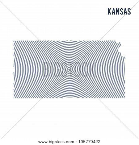 Vector Abstract Hatched Map Of State Of Kansas With Spiral Lines Isolated On A White Background.