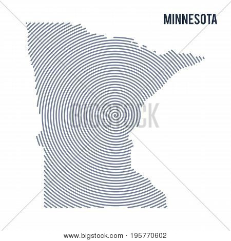 Vector Abstract Hatched Map Of State Of Minnesota With Spiral Lines Isolated On A White Background.