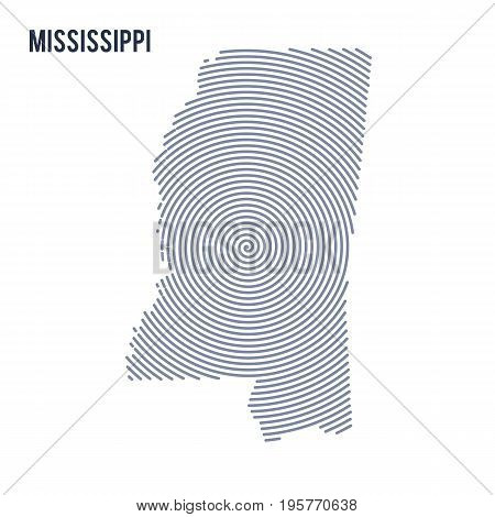 Vector Abstract Hatched Map Of State Of Mississippi With Spiral Lines Isolated On A White Background