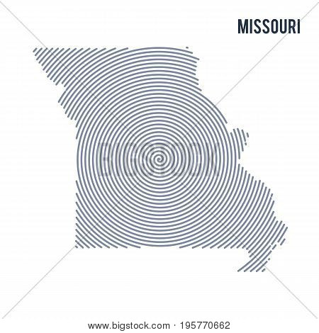 Vector Abstract Hatched Map Of State Of Missouri With Spiral Lines Isolated On A White Background.