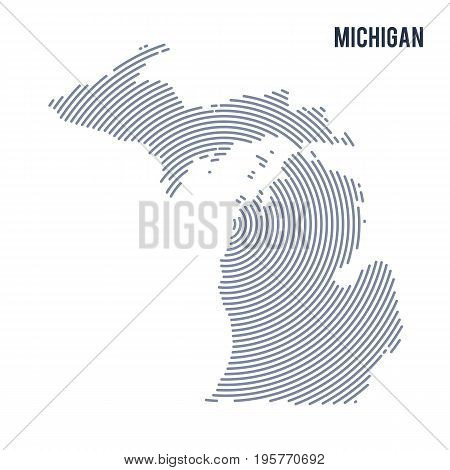 Vector Abstract Hatched Map Of State Of Michigan With Spiral Lines Isolated On A White Background.