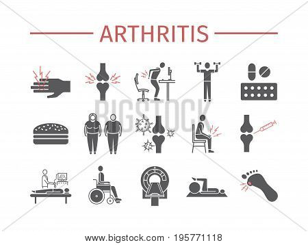 Arthritis. Symptoms, Treatment. Icons set Vector signs for web graphics