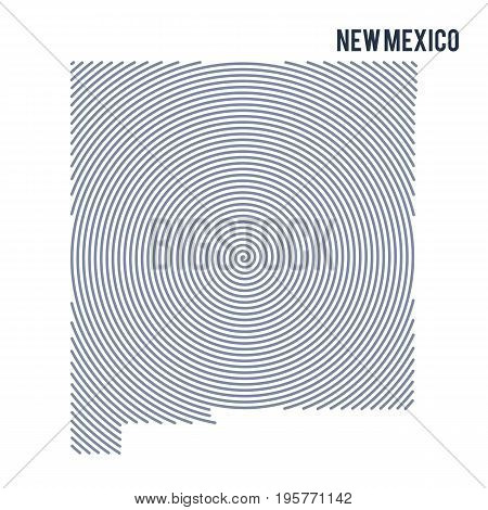 Vector Abstract Hatched Map Of State Of New Mexico With Spiral Lines Isolated On A White Background.