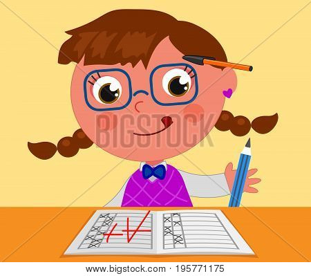 Smart girl with A+ good exam, cartoon vector illustration