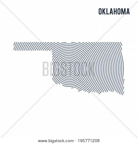 Vector Abstract Hatched Map Of State Of Oklahoma With Spiral Lines Isolated On A White Background.