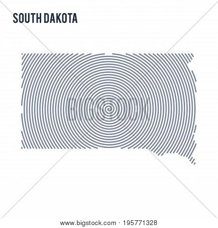 Vector Abstract Hatched Map Of State Of South Dakota With Spiral Lines Isolated On A White Backgroun