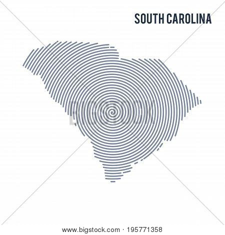 Vector Abstract Hatched Map Of State Of South Carolina With Spiral Lines Isolated On A White Backgro