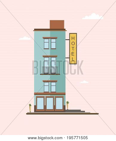 Modern mid-rise hotel building side view. Colorful flat vector illustration