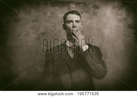 Antique Wet Plate Photo Of 1920S English Gangster In Suit Smoking Cigarette.