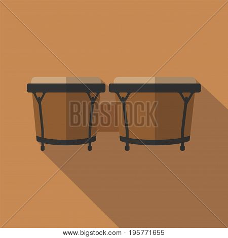 Bongos musical instrument, flat icon with long shadow