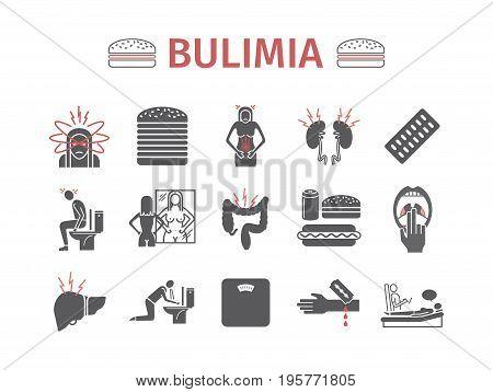 Bulimia. Symptoms, Treatment. Icons set Vector signs for web graphics