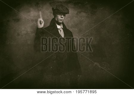 Antique Wet Plate Photo Of Dangerous 1920S English Gangster Standing With Gun.