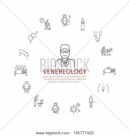 venereal diseases symptoms. Line icons set. Vector signs for web graphics