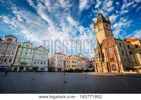 Fantastic scene of the town Hall and (Prazsky orloj) in sunlight. Popular tourist attraction. Location famous place (unesco heritage) old town square on Prague, Czech Republic, Europe. Beauty world.