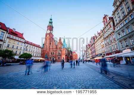 Stunning image of ancient city. Location place Town Hall, Wroclaw Market Square, Poland, famous and cultural center of Europe. Historical capital of Silesia. Popular tourist attraction. Beauty world.
